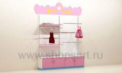 Мебель для детского магазина пристенный стеллаж с накопителями и дверками торговое оборудование ПРИНЦЕСС