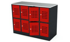 Шкаф для сумок красный оборудование для магазинов ШКАФЫ ДЛЯ СУМОК