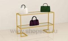 Стол для сумок в магазин со стеклянными полками торговое оборудование ТИФФАНИ