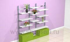 Стеллаж для магазина цветов пристенный торговое оборудование АРОМАТНЫЙ МИР