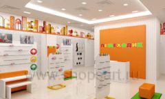 Дизайн интерьера детского магазина Пешеходик МТК ЕвроПарк коллекция КАРАМЕЛЬ Дизайн 06