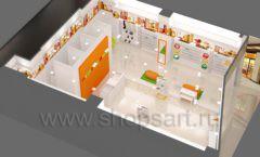Дизайн интерьера детского магазина Пешеходик МТК ЕвроПарк коллекция КАРАМЕЛЬ Дизайн 07