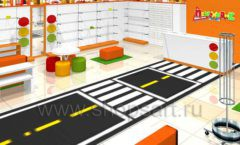Дизайн интерьера детского магазина Пешеходик ТРЦ Рига Молл коллекция КАРАМЕЛЬ Дизайн 03