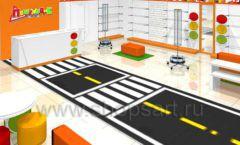 Дизайн интерьера детского магазина Пешеходик ТРЦ Рига Молл коллекция КАРАМЕЛЬ Дизайн 04