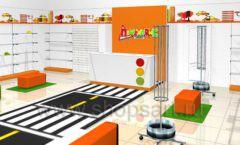 Дизайн интерьера детского магазина Пешеходик ТРЦ Рига Молл коллекция КАРАМЕЛЬ Дизайн 09