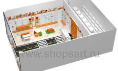 Дизайн интерьера детского магазина Пешеходик ТРЦ Рига Молл коллекция КАРАМЕЛЬ Дизайн 12