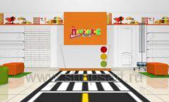 Дизайн интерьера детского магазина Пешеходик ТРЦ Рига Молл коллекция КАРАМЕЛЬ Дизайн 17