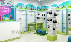 Дизайн интерьера детского магазина обуви Волшебная прогулка коллекция АКВАРЕЛИ Дизайн 01