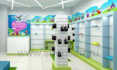 Дизайн интерьера детского магазина обуви Волшебная прогулка коллекция АКВАРЕЛИ Дизайн 02