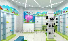Дизайн интерьера детского магазина обуви Волшебная прогулка коллекция АКВАРЕЛИ Дизайн 04