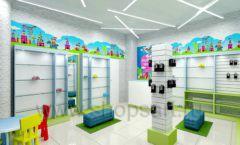 Дизайн интерьера детского магазина обуви Волшебная прогулка коллекция АКВАРЕЛИ Дизайн 06