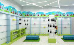 Дизайн интерьера детского магазина обуви Волшебная прогулка коллекция АКВАРЕЛИ Дизайн 09