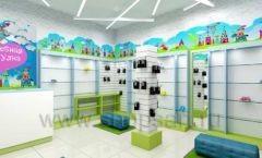 Дизайн интерьера детского магазина обуви Волшебная прогулка коллекция АКВАРЕЛИ Дизайн 12