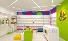 Дизайн интерьера детского магазина Мишутка торговая мебель КАРАМЕЛЬ Дизайн 09