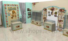 Дизайн интерьера детского магазина Королевская вышивка коллекция ВИНТАЖ Дизайн 01