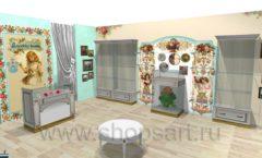Дизайн интерьера 2 детского магазина Королевская вышивка коллекция ВИНТАЖ Дизайн 01