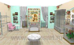 Дизайн интерьера 2 детского магазина Королевская вышивка коллекция ВИНТАЖ Дизайн 02