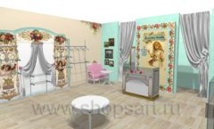 Дизайн интерьера 2 детского магазина Королевская вышивка коллекция ВИНТАЖ Дизайн 03