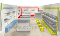 Дизайн интерьера детского магазина Детки конфетки коллекция торгового оборудования ГОЛУБАЯ ЛАГУНА Дизайн 1