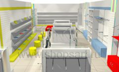 Дизайн интерьера детского магазина Детки конфетки коллекция торгового оборудования ГОЛУБАЯ ЛАГУНА Дизайн 2