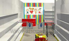 Дизайн интерьера детского магазина Детки конфетки коллекция торгового оборудования ГОЛУБАЯ ЛАГУНА Дизайн 4
