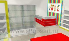 Дизайн интерьера детского магазина Детки конфетки коллекция торгового оборудования ГОЛУБАЯ ЛАГУНА Дизайн 7