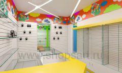 Дизайн детского магазина Емеля Южно-Сахалинск торговое оборудование КАРАМЕЛЬ Дизайн 01
