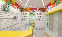 Дизайн детского магазина Емеля Южно-Сахалинск торговое оборудование КАРАМЕЛЬ Дизайн 02