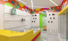 Дизайн детского магазина Емеля Южно-Сахалинск торговое оборудование КАРАМЕЛЬ Дизайн 03