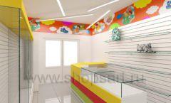 Дизайн детского магазина Емеля Южно-Сахалинск торговое оборудование КАРАМЕЛЬ Дизайн 04