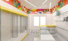 Дизайн детского магазина Емеля Южно-Сахалинск торговое оборудование КАРАМЕЛЬ Дизайн 05