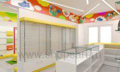 Дизайн детского магазина Емеля Южно-Сахалинск торговое оборудование КАРАМЕЛЬ Дизайн 06