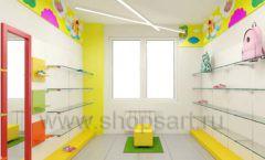 Дизайн детского магазина Емеля Южно-Сахалинск торговое оборудование КАРАМЕЛЬ Дизайн 24