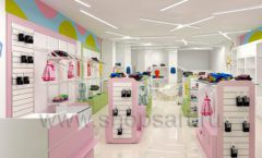 Дизайн интерьера детского магазина Стрекоза коллекция торгового оборудования АКВАРЕЛИ Дизайн 01