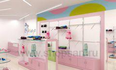 Дизайн интерьера детского магазина Стрекоза коллекция торгового оборудования АКВАРЕЛИ Дизайн 03