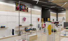 Дизайн детского магазина OLDOS KIDS коллекция торгового оборудования АКВАРЕЛИ Дизайн 09
