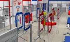 Дизайн детского магазина Дочки-Сыночки коллекция торгового оборудования АКВАРЕЛИ Дизайн 1