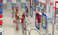 Дизайн детского магазина Дочки-Сыночки коллекция торгового оборудования АКВАРЕЛИ Дизайн 3