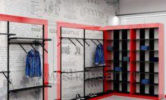 Дизайн магазина одежды коллекция торгового оборудования КРАСНАЯ ЛИНИЯ Дизайн 03