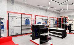 Дизайн магазина одежды коллекция торгового оборудования КРАСНАЯ ЛИНИЯ Дизайн 05
