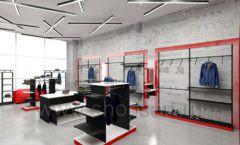Дизайн магазина одежды коллекция торгового оборудования КРАСНАЯ ЛИНИЯ Дизайн 06