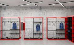 Дизайн магазина одежды коллекция торгового оборудования КРАСНАЯ ЛИНИЯ Дизайн 08